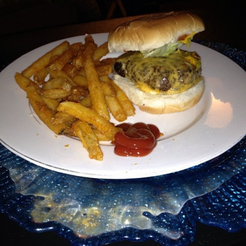 Cheeseburger and seasoned fries! #Instagood