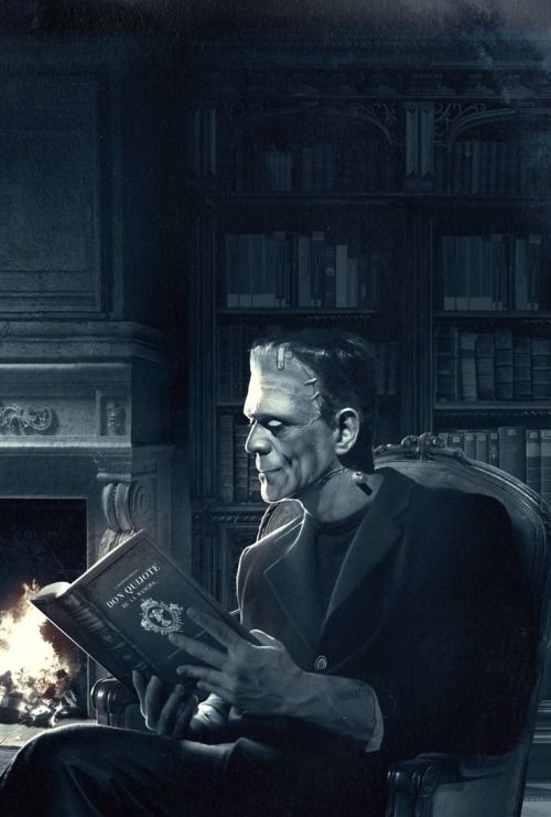 "I love this! And he's reading Don Quijote. Aw!! I can't find the artist but this is a cover of a book titled ""La Noche En Que Frankenstein Leyó El Quijote"" by Santiago Posteguillo"