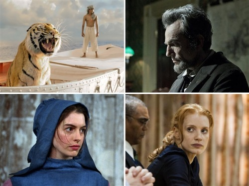 "'Lincoln,' 'Life of Pi,' top Oscar nominations (Photos: Warner Bros., DreamWorks, Univer) The Academy Awards are a lively, high-spirited event, but many of the films nominated Thursday morning feature grim topics. From the waterboarding of ""Zero Dark Thirty"" to the desperation and revolution of ""Les Miserables,"" movies this time around were rewarded for tackling dark subject matter with skill. Steven Spielberg's ""Lincoln"" led all comers with 12 nominations, with Ang Lee's ""Life of Pi"" next with 11. Read the complete story."