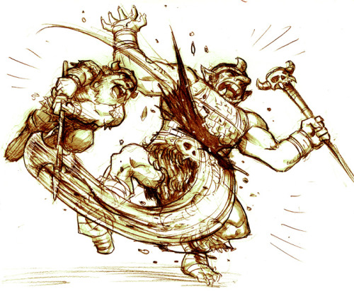 "A triumphant dwarf, by studiomate Reilly Brown  That… sounds dirty somehow… dungeonsdragonsndrinking:  An Officer is Disciplined After being introduced to Killgore's axe, the goblin officer is viciously wounded, and summons his subordinates to assist him as he slinks away down a distant corridor to tend his injuries.  ""Coward!""  cries Killgore, as one of the goblin underlings takes a swing at him, but determinedly the dwarf ignores the the blow of the subordinate, and chases after it's master to finish the job he started. As he continues his chase, the goblin underling taunts Killgore by naming him a coward for leaving the battle unfinished, but as the cocky creature shall soon learn, the battle is FAR from over, and his taunts have merely won him the opportunity to be the next to be introduced to Killgore's blade."