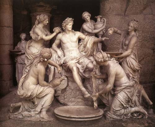 records-of-fortune:  François Girardon - Apollo tended by nymphs. Marble. 1666-73. Grotto of Thetis, Versailles.