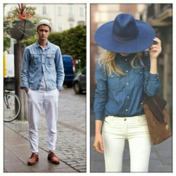 Imaginary couple: denim & white pants