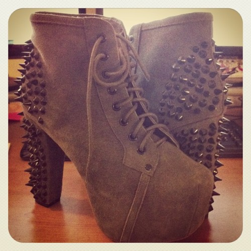 $10 #ilovemyjob #karmaloop #misskl #shoes #spikes #studs #suede #jeffreycampbell #pumps #litas #fashion