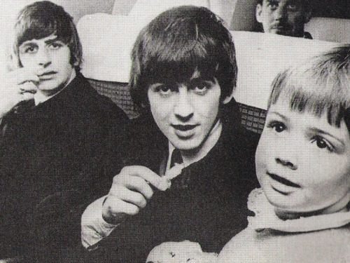 "thateventuality:  Scan - Ringo Starr and George Harrison, on the flight from New Zealand to Australia, 1964 A five-year-old girl turned down an offer thousands of girls would give their whole collection of Beatles records for. She was asked by George Harrison ""going to give me a kiss?"" Replied Australian born Kaye Peebles steadfastly ""no"".From The Beatles Book Monthly, August 1964"