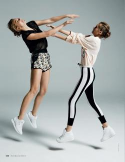 "opaqueglitter:  ""Sport Illustrated"" Solveig Mork & Hanna Verhees For Elle Italia May 2013"