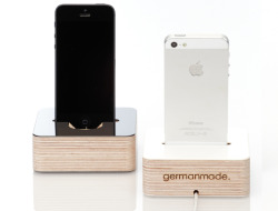leibal:  iPhone Dock is a minimalist design created by German-based firm germanmade. The dock is handmade in Germany, and has a layer of HPL coating on the surface that is available in either white or black. There is an indentation in the back of the dock to route the wiring – a rubber piece is placed at the end to hold the wire in place. The bottom of the dock holds small rubber feat to prevent it from slipping.