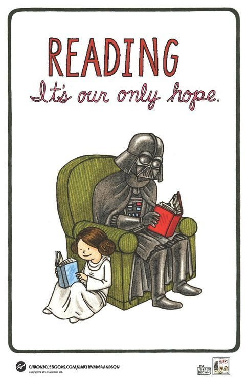 We love this wonderful illustration promoting both the awesomeness of literacy and a brand new book by one of our favourite cartoonists, Jeffrey Brown. Entitled Star Wars: Vader's Little Princess, the book is a delightful collection of comics depicting the relationship between Darth Vader and Princess Leia had he been responsible for raising her. It's a follow-up to the equally awesome Star Wars: Darth Vader and Son in which the Dark Lord of the Sith is playing an active role as father to young Luke. This is Star Wars imagined in a way you've never seen before. It's cute, tender, and very funny. We think it's pretty awesome. [Poster via GeekDad]