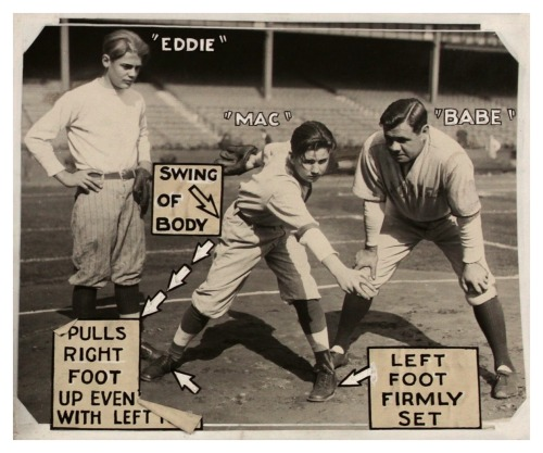 "Babe Ruth Teaches Proper Pitching Form Chicago Herald-Examiner - March 31, 1930""Pulls right foot up even with left foot…swing of body…left foot firmly set."""