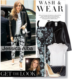 Jessica Alba…Get The Look! by stylejournals featuring chanel handbags ❤ liked on PolyvoreMilly lacy top, $380 / 2nd Day genuine leather jacket / Full Tilt floral pants / Christian Louboutin snake skin heels, $1,060 / Chanel  handbag