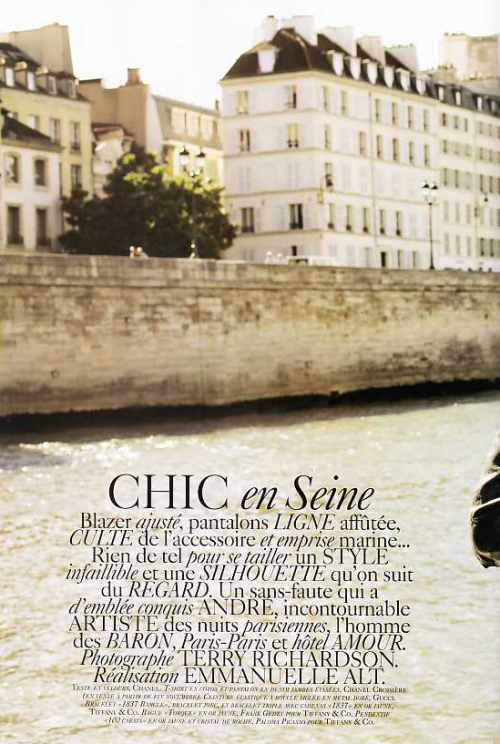 """Chic en Seine"" Vogue Paris, September 2007 photographer: Terry Richardson"