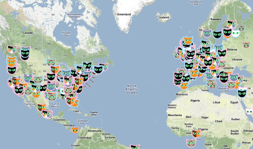 laughingsquid:  Cat Map, An Interactive Map of All the Cats in the World