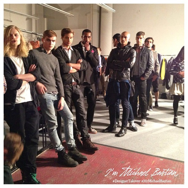 """How many beautiful models can we pack in a tight hallway?"" - xMb  #DesignerTakeover #MrMichaelBastian #nyfw #attheshows"