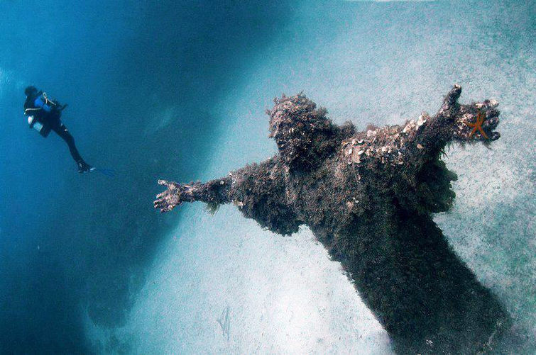 wilwheaton:  nprfreshair:  Underwater Statue of Jesus, Malta via Fast Co. Create  Jesus Christ that is a huge Jesus Christ.