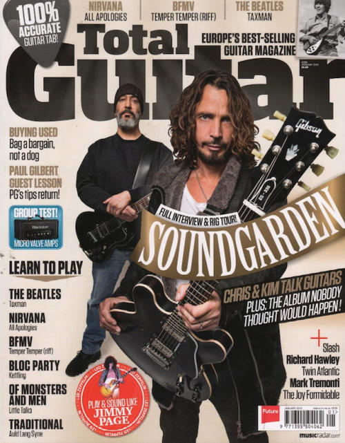 Soundgarden's Chris Cornell and Kim Thayil on the cover of the latest issue of Total Guitar.