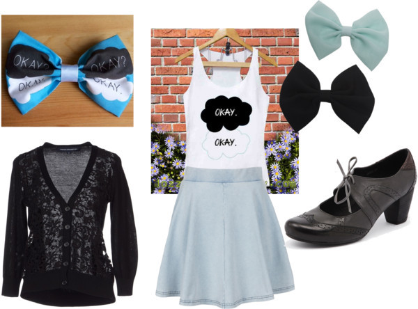 The Fault In Our Stars in Summer by jessiefarnum featuring high waisted flared skirts   Yet another version of a TFIOS outfit  An iconic TFIOS tank top tucked into a baby blue skirt, a black textured lace cardigan for the chilly summer nights. Dress it up with some heeled Mary Jane's or keep it casual with some black ballet flats or black TOMS. Either way a nerdfighter or TFIOS fan is sure to approach you, and you just might find your Augustus Waters! #nerdy #cute #nerdfighters #nerdycute #tfios #thefaultinourstars #etsy French Connection black top / Purple tank / Topshop high waisted flared skirt / Grey shoes, $145 / Wet Seal snap hair clip / The Fault In Our Stars Novel by John Green by LittleCornerCreation