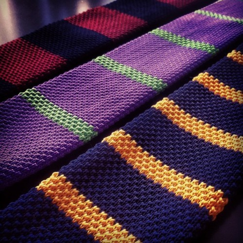 Vibrant Striped Knit Ties!  Follow Hucklebury for daily dose of fresh and inspirational styles that makes you smile everyday ! Like us on Facebook!  We make awesome clothes from 100% Egyptian Cotton, which is woven in Italy !  Source:  mxstaphahttp://blog.hucklebury.com/post/39541262191/vibrant-striped-knit-ties
