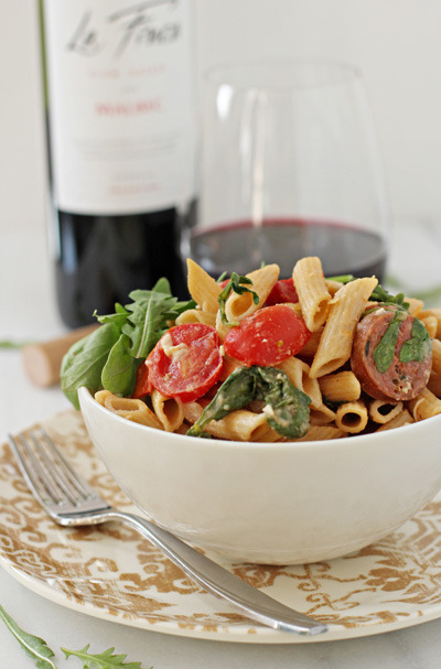 foodopia:  sausage, red pepper, and arugula pasta: recipe here