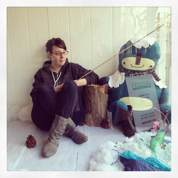 Bye bye window display. #me #installation #art #softsculpture #therowdies #monster #fishing #gallery #salinas #plush #handmade