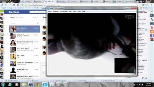 Tulugan sa skype with Yhats. Hihi. :D