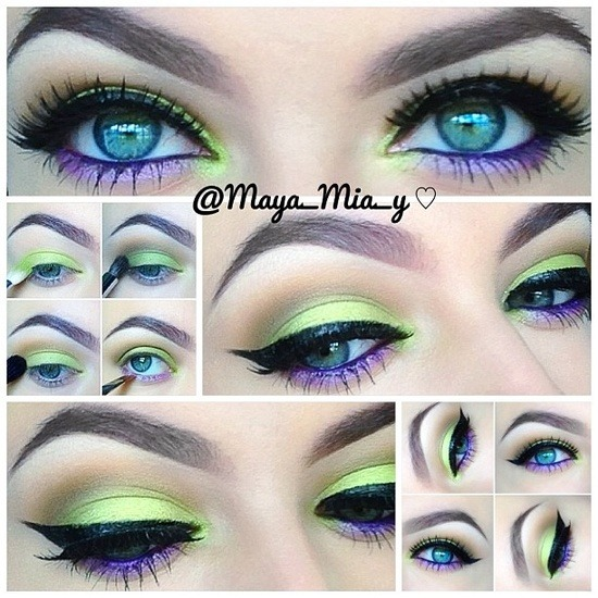 Amazing pictorial by Maya_Mia_y  on Instagram using Lime Crime's Aquataenia palette and uniliners!!! 1.Apply mac paint pot painterly allover the lid as a base. 2.Using the #limecrime #aquataenia palette apply the seahorse discourse shade on the lid and tear duct. 3.Apply mac cork in the crease and handwritten on the outer crease.( u can use any warm brown similar shades)  4.Apply pearl-ple on the lower lash line and mac designer purple pencil on the waterline or any purple pencil. 5.Line with lime crime quill uniliner. Lashes @houseoflashes Dollface  brows @kelleybakerbrows ash brown powder and @billiondollarbrows clear gel