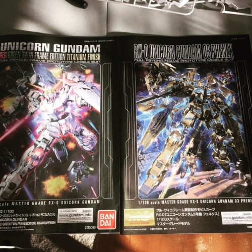 Time to build! AT THE SAME TIME!! X3 time to create my own Unicorn Gundam :P #mobilesuitgundam #gundamunicorn #mastergrade #titanium #titaniumfinish #unicorngundam #unicorngundam03phenex #paladin #pheonix #shiny #ilikeshinythings #bandai #kitbash #custom #gunpla #gunplacustom