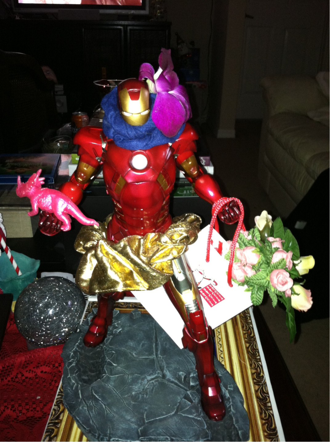 IronMan returns from his shopping spree.