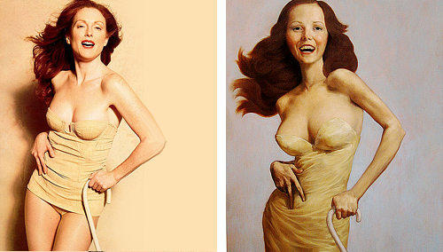 "Julianne Moore as ""Famous Works of Art"" by Peter Linderbergh - for Harper's Bazaar  Seated Woman With Bent Knee by Egon Schiele, La Grande Odalisque by Ingres, Saint Praxidis by Vermeer, The Cripple by John Currin, Les danseuses by Edgar Degas, Madame X by John Singer, Girl with a Pearl Earring by Vermeer, Woman With a Fan by Modigliani, Man Crazy Nurse #3 by Richard Prince, Adele Bloch Bauer I by Gustav Klimt."