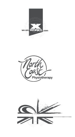 Xworks logo for Xworks Freesports Agency North Coast Physio logo with hand drawn script Museum of British Surfing concept work All work by philipbridgesdesign