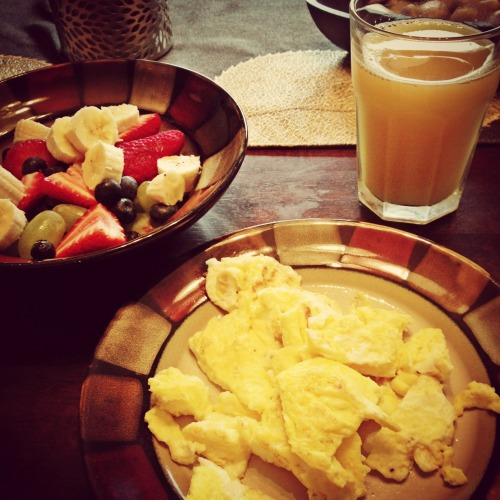 Breakfast 😊 eggs, fruit and my fav, pineapple juice! 🍍 at Frescura Residence – View on Path.