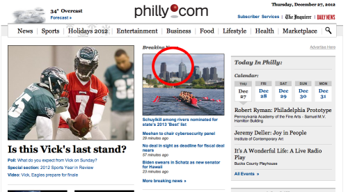 "Not you, too, Philly.com.  Update: Sorry, the photo distracted me. Pennsylvania River of the Year? This award (which I hadn't heard of) has a $10,000 prize! Also, the Delaware River won it last year ""after months of bated breath and enthusiastic voting."""