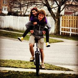 First day for shorts in 2013 with my amazing girlfriend! 2 people 1 wheel.