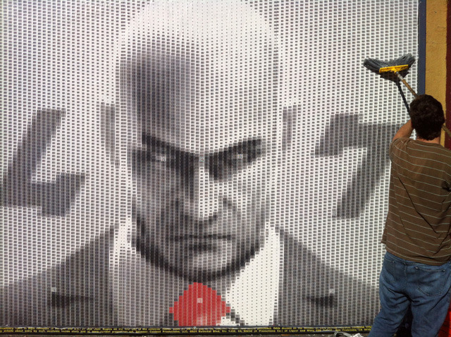 laughingsquid:  Artist Creates Portrait of Hitman's Agent 47 Out of 9,985 UPC Barcodes