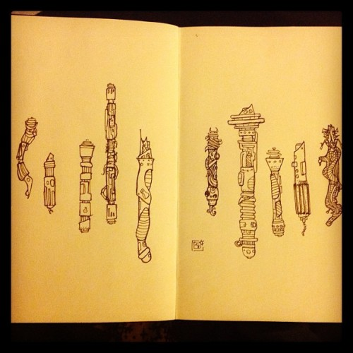 billiambabble:  Lightsabers in my #starwars #moleskine #fineliner #drawing #doodle  Very cool, billiambabble! Me likes!