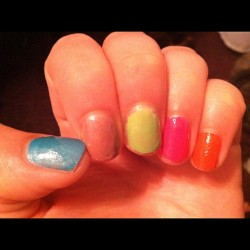 Well, goodbye Easter egg colored nails! I have ROTC in the morning and you are definitely not in regs. #airforcerotcproblems