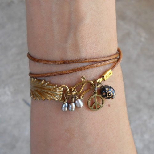 Greek Leather Wrap Bracelet from LovePrayJewelry.com