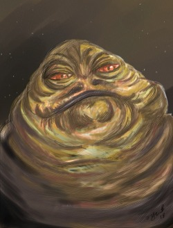 """The Hutt"" In order to get better at digital painting/drawing, I'm starting a portrait series of Star Wars Species. This is the first, of the many to come, and hopefully I will greatly improve."