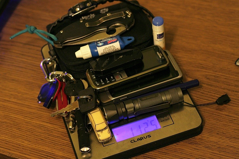 Weight of EDC Essentials Submitted By: Mr. Slender Jack Wolfskin First Class Wallet HTC Desire Z and Nokia C5-00 - Purchase on Amazon Casio W-S210H Solar (on my hand while taking this photo) Marlboro lighter - Purchase on Amazon iTP EOS A3 Upgraded flashlight - Purchase on Amazon My home and flat keys + Victorinox Classic - Purchase on Amazon Lip balm lipstick - Purchase on Amazon Opel Astra GSi keys Spyderco Manix Mini 83mm s30v - Purchase on Amazon JETbeam Jet-1 PRO v3.0 Q5
