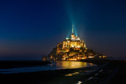 landscapelifescape:  Mont Saint Michele, France Stars in Le Mont Saint Michele by David Martín Castán