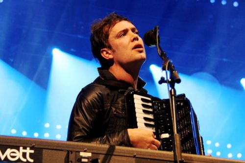 Ben Lovett of Mumford & Sons performs at the TD Garden in Boston on February 5, 2013. Photo © MAME Magazine.