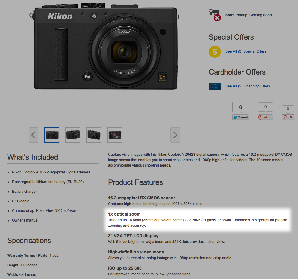 Really Best Buy, a 1x optical zoom? Is that what you're calling a prime lens these days?