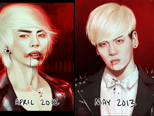 "so i just now redid a jjong fanart i did last year and i freaked out because omg the difference i am so happy right now i'm going to cry????????? i've been feeling so poo about my art and if you feel poo too i suggest doing that ""Draw it again"" meme thing because you might seriously be surprised!!!  i'm not posting the full on this blog, so it's here if interested!  aaaaaaaaaaaaaa jfc"