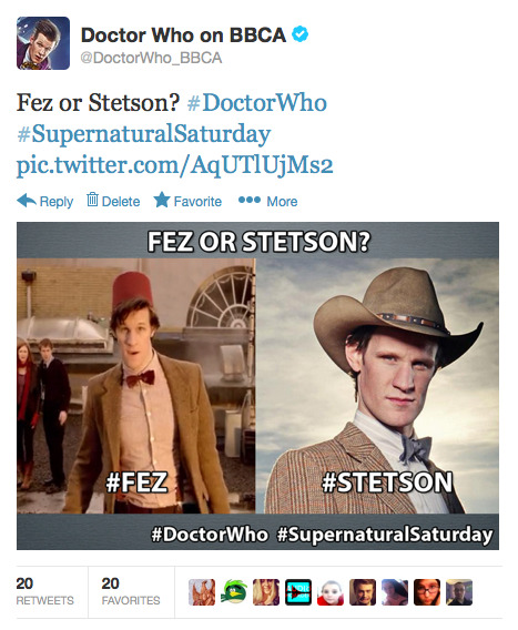 Because we're asking all of the important questions on the DoctorWho_BBCA Twitter account today. @DoctorWho_BBCA: Fez or Stetson? #DoctorWho #SupernaturalSaturday pic.twitter.com/AqUTlUjMs2