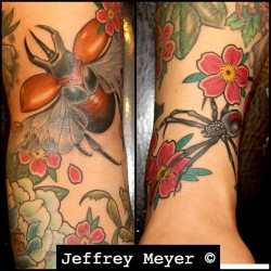Some bugs… In progress… #losangeles #jeffreymeyer #unbreakabletattoo #rhinobeetle #blackwidow #blossoms #tattoo #putabugonit (at Unbreakable Tattoo)