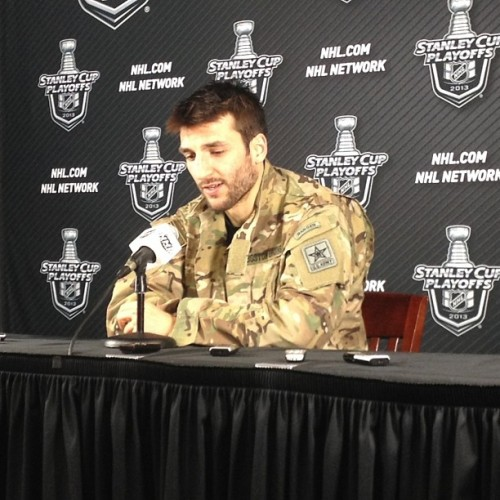nhlbruins:  Patrice Bergeron in the Player of the Game jacket, after his series-clinching goal in OT #nhlbruins