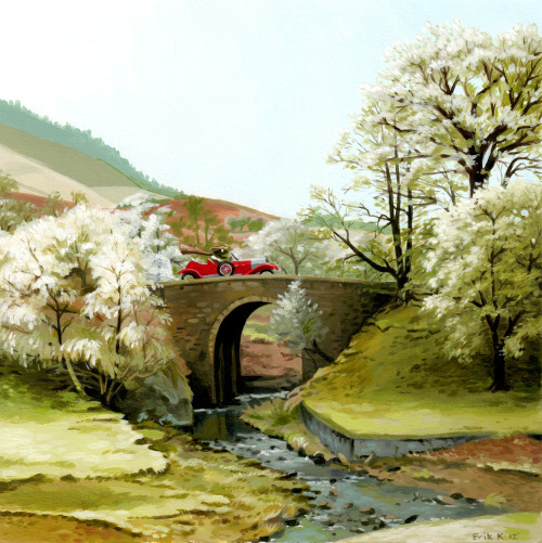 ebkrenz:  Here's a pretty little English countryside landscape I painted last night with Mr. Toad and his car obsession! I always think that my work doesn't look as good once I scan it in, but I'm still pretty happy with this one.