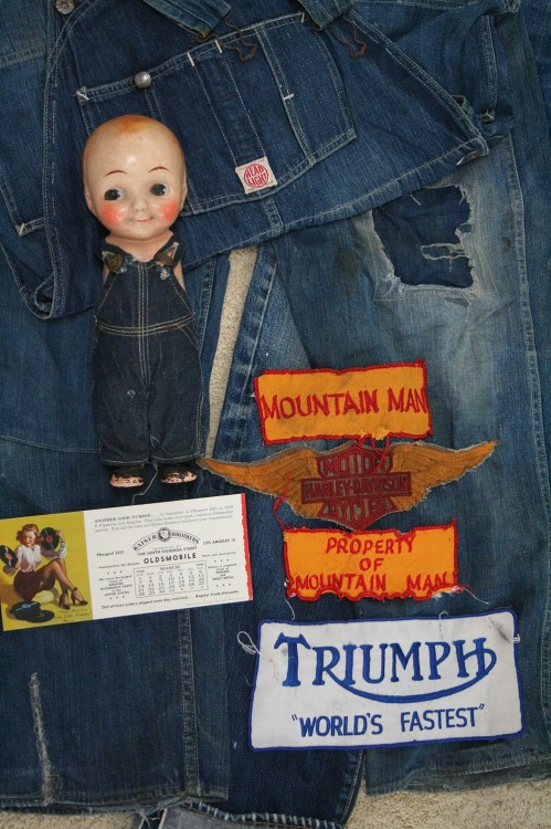 Buddy Lee Doll, vintage patches, Headlight overalls oddmodsarchive