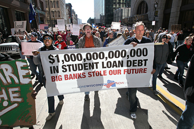 "thepeoplesrecord:  Student-loan delinquency skyrocketing, hitting ""Danger Zone""January 31, 2013 Most of us are have seen headlines about the burgeoning student-loan crisis. As of August, for instance, student loans had topped $914 billion — an increase of $10 billion in less than half a year, even as most debt was falling around the country. Still, we do not appear to have hit rock-bottom. A new report shows that student-loan delinquency rates have gone through the roof in recent years and that, even more troubling, we may be entering a ""danger zone"" in which the entire U.S. economy is at risk. The report from FICO Labs shows that student-loan delinquencies saw a 22-percent increase in the past several years; the overall delinquency rate is now more than 15 percent. The LA Times has more:  The worsening deliquency rate comes as loan balances surge. The average student-loan debt jumped to $27,253 last year, up 58% from $17,233 in 2005. By contrast, average credit-card and auto-loan balances declined during that period.   ""As more people default on their student loans, their credit ratings will drop, making it harder for them to access new credit and help grow the economy,"" [FICO Labs head Andrew] Jennings said. ""Even people who stay current on their student loans are dealing with very large debts, which reduces the money they have available to spend elsewhere.""  Source Strike Debt has created a Debt Resistor's Manual that you can read here. It's side project, Rolling Jubilee, has raised $552,682 to abolish $11,058,465 in debt."