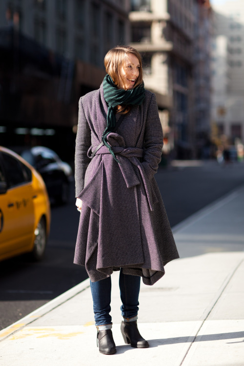 Polly Ruskin in a rad Vivenne Westwood coat outside of La Colombe on West 4th and Lafayette - she was visiting from London and works in advertising!