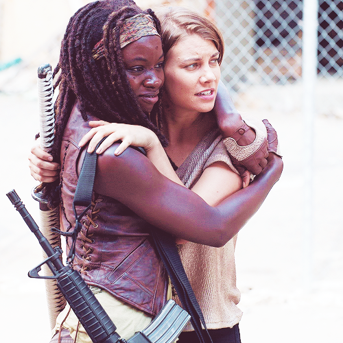 Danai Gurira and Lauren Cohan on set.