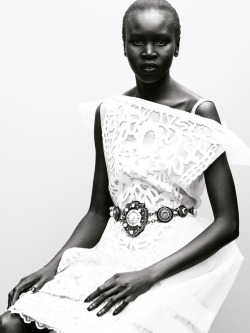 romanticnaturalism:  Alek Wek wears a Louis Vuitton dress and an Yves Saint Laurent belt in 'A Woman Worth' photographed by Tetsuharu Kubota for the Spring 2012 issue of The Wild Magazine